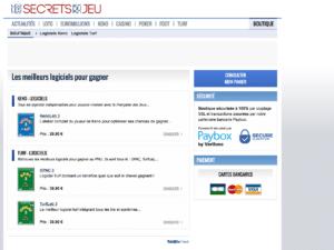 Capture écran boutique site internet