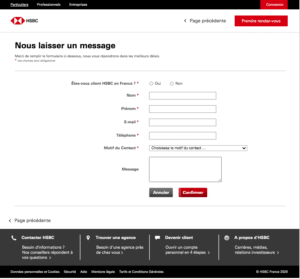 Formulaire contact HSBC
